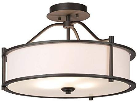 Semi Flush Mount Ceiling Light 18 Inch 3 Light Close To Ceiling Light With Fabric Shade An Dinning Room Light Fixture Ceiling Lights Flush Mount Ceiling Lights Close to ceiling light fixtures
