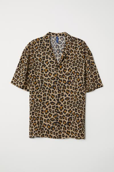 Mens Dress Shirts Leopard Printed Loose Collar Short Sleeve Pocket Button Down Beach Hawaiian Shirt