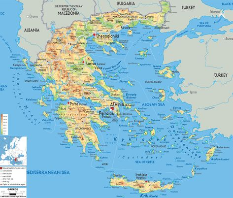 Makedonia Greece And Physical Topographies Grecia Mapa