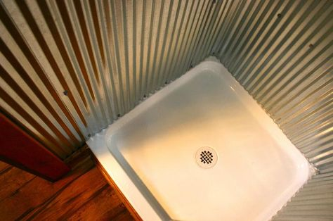Barn Tin Shower Our Life Outside The Box Rustic Bathrooms Tin Shower Barn Bathroom