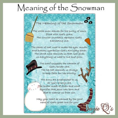 Meaning of the Snowman 5x7 Card Front  Digital by SuzieQsCrafts, $1.25