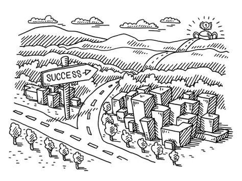 Landscape Road Sign Success Drawing