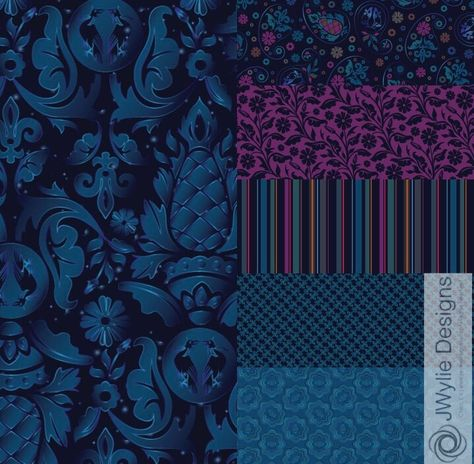 A new collection based on the WGSN Dark Wonder trend for A/W 18/19! More at Surface Designs at jwyliedesigns.com #textiles #pattern #textiledesign #surfacedesign #adobe #illustrator #patternobserver
