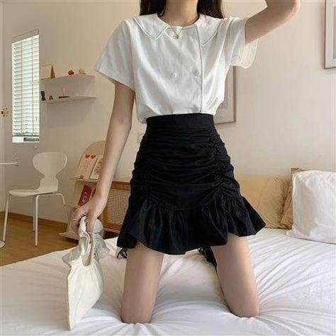 A-line Summer Mini Hem Skirts Ruffles - Black / M