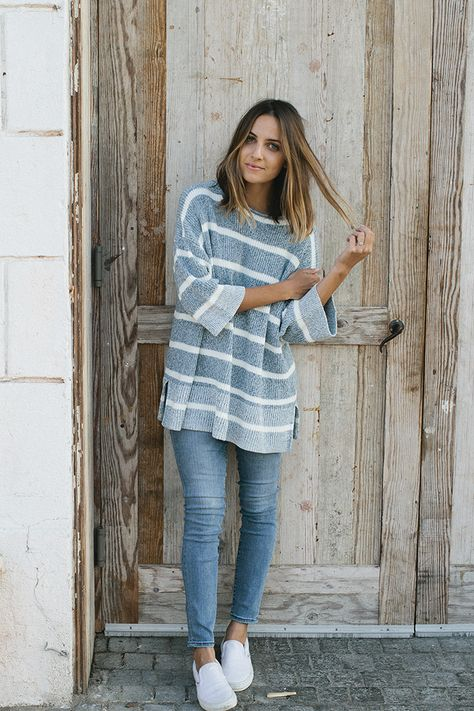 oversized striped pullover + high-rise resolution jeans