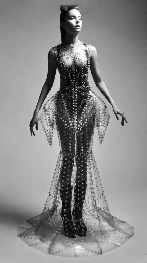 Sculptural Fashion transparent plastic dress w/ silhouette avante-garde fashion Manuel Diaz