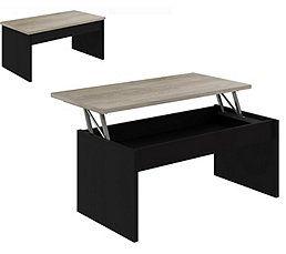Table Basse Plateau Relevable Azalea Noir Et Imitation Chene En