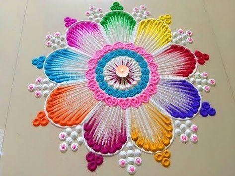 Beautiful easy rangoli design #Youtube #Diwali #rangoli