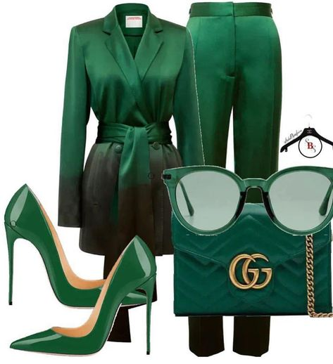 As much as I adore the color green, and I can't believe I'm saying this, but it might be a little too much green on green. I do love all the elements of the outfit, but probably not together.