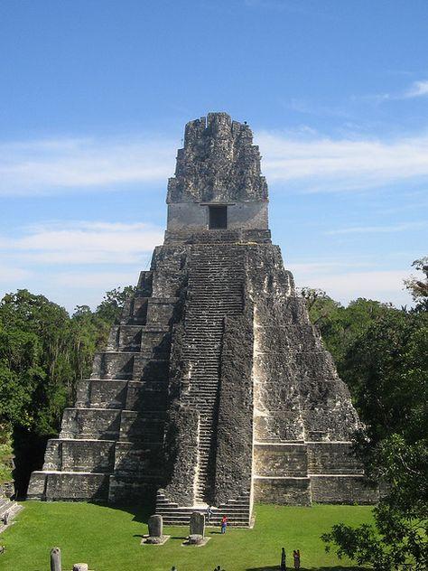 Grand Jaguar Pyramid at Tikal mayan ruins,. - Grand Jaguar Pyramid at Tikal mayan ruins, Guatemala (by rodolfo obando). Grand Jaguar Pyramid at T - Tikal, Belize, Mayan Ruins, Ancient Ruins, Ancient Greek, Ancient Art, Aztec Ruins, Places To Travel, Places To See