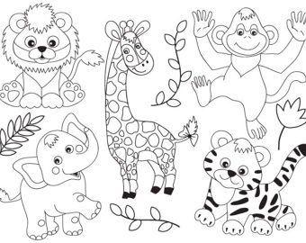 Jungle Animals Clipart Digital Vector Safari Animals Jungle Animal Coloring Pages Animal Clipart Animals Black And White