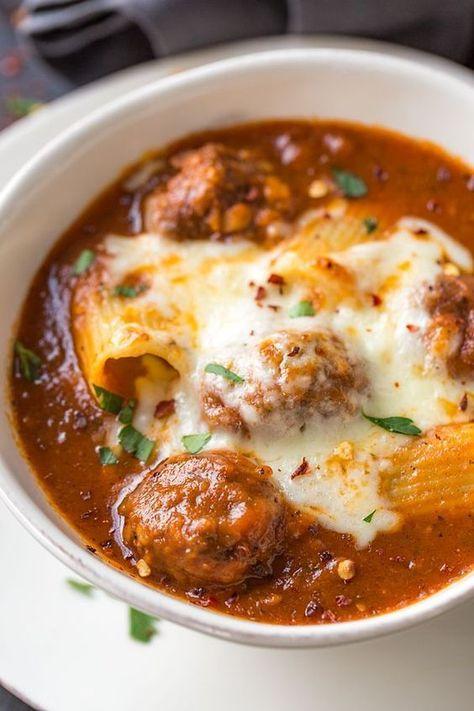 Rigatoni Meatball Soup   The Cozy Apron