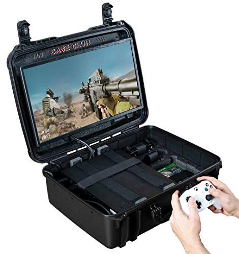 Case Club Waterproof Xbox One X S Portable Gaming Station With Built In Monitor Storage For Controllers Games Gaming Station Xbox One Xbox Case
