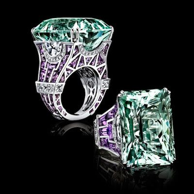 Robert Procop has created a colorful interpretation of Paris' most famous monument, the Eiffel Tower. The diamond and gem expert, and luxury jeweler created a ring made of white gold and amethyst topped with a 50.83-carat aquamarine.