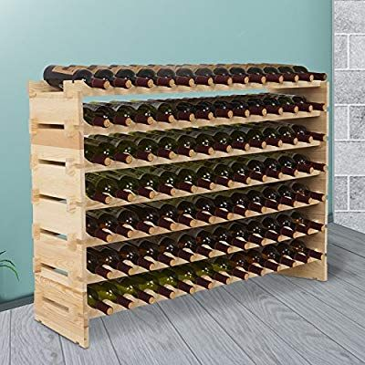 Mecor Wine Rack Storage Holder Stackable Display Shelves Solid Wood Amazon Co Uk Kitchen Home Weinregal Ideen Weinregal Holz