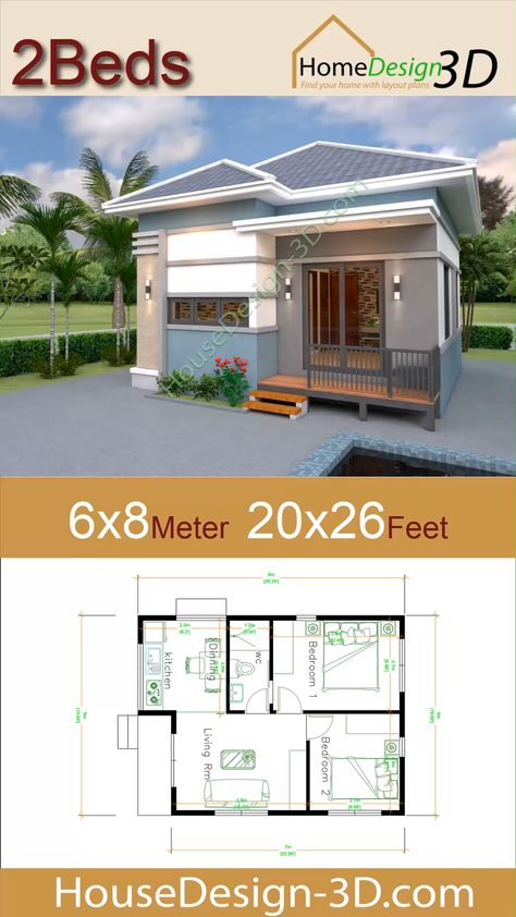 House Design 3d 6x8 Meter 20x26 Feet 2 Bedrooms Hip Roof  The House has:  -Car Parking and garden -Living room, -Dining room -Kitchen -2 Bedrooms, 1 bathroom -washing room