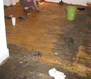 to remove years worth of carpet glue and ground in dirt on a hardwood floor before sandinguse 50 ammonia mask gloves and plastic scrub brusu2026