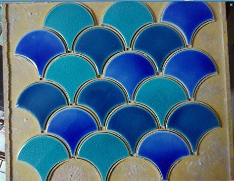 11pcs blue green fish scale ceramic mosaic tile kitchen