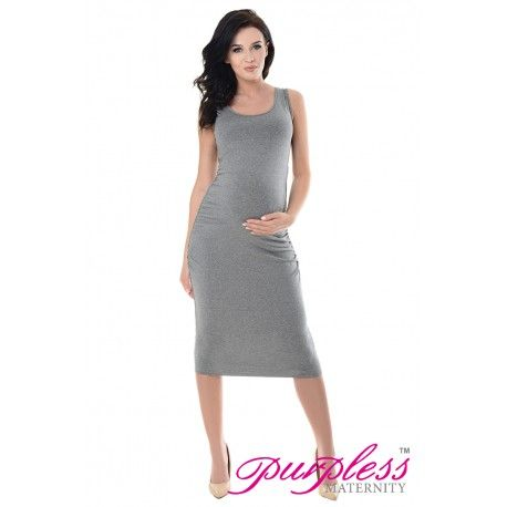 c2c4d288099af5 Purpless Maternity Sleeveless Jersey Ruched Pregnancy Midi Dress 8130 Dark  Grey Melange
