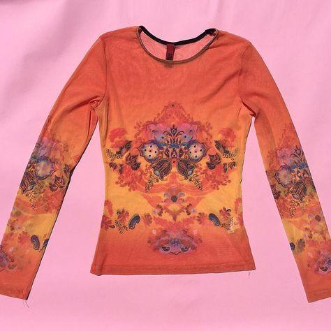 Vintage starburst lotus sheer mesh top with. Summer Deco, Deco Design, Vintage Design, Fashion Killa, Jean Paul Gaultier, Alternative Fashion, Clothing Items, Long Sleeve Tops, Fashion Outfits