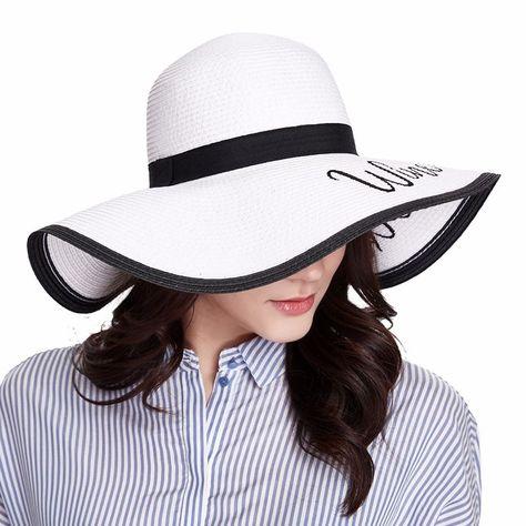19d8c039b62 ENJOYFUR Women Sun Hats For Summer Fashion Letter Beach Caps Large Brim  Straw Hats For Women  SunHatsForWomen