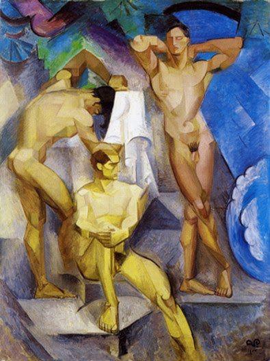Bathing Men Georg Pauli ART Canvas print