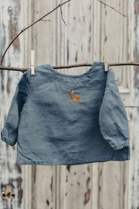 94fb302a77ae Linen Shirt, Dusty Blue Baby Shirt, Washed Linen, Hand Embroidery, Linen  Kids Clothing