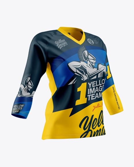 Women S Trail Jersey 3 4 Sleeve In Apparel Mockups On Yellow Images Object Mockups Shirt Mockup Design Mockup Free Free Psd Design