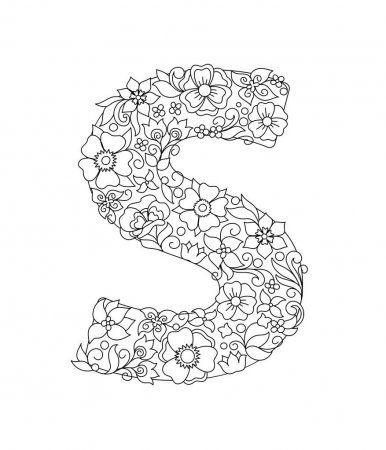 Duza Litera S Wzorzyste Z Recznie Rysowane Doodle Abstrakcyjne Kwiaty I Liscie Monochromatyczna Strona Anty How To Draw Hands Coloring Letters Coloring Books
