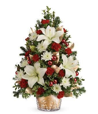 Golden Elegance Christmas Tree At From You Flowers Christmas Flower Arrangements Christmas Flowers Christmas Floral Arrangements