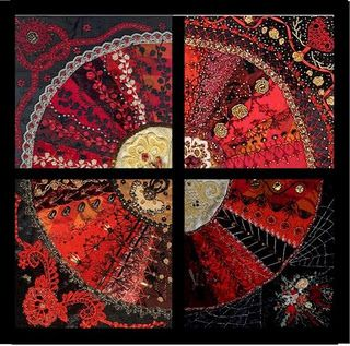 crazy #quilt in the shape of a #dresden plate