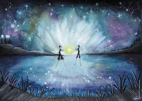 Aquarelle Paysage Nuit Les Magiciens Peintures Par Lerm Avec