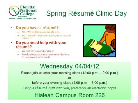 Resume Clinic FNU Advising Blog Pinterest Clinic   Electronic Resume  The Resume Clinic