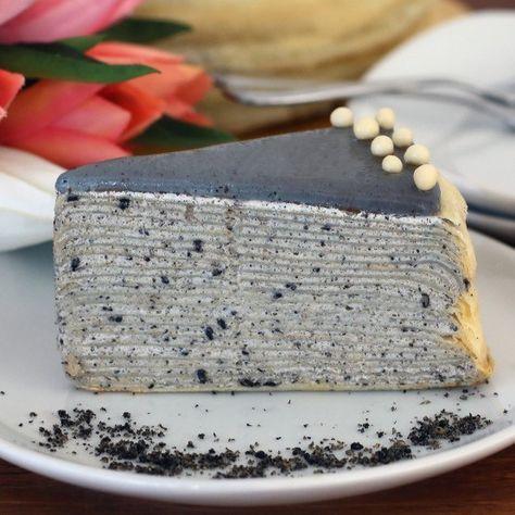 BLACK SESAME CREPE CAKE Crepe cake, Asian desserts, Crepe cake recipe