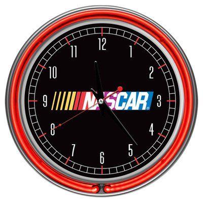 Trademark Global Nascar 14 5 Double Ring Neon Wall Clock In 2020 Neon Clock Clock Wall Clock