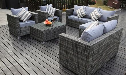 Eight Seater Rattan Effect Garden