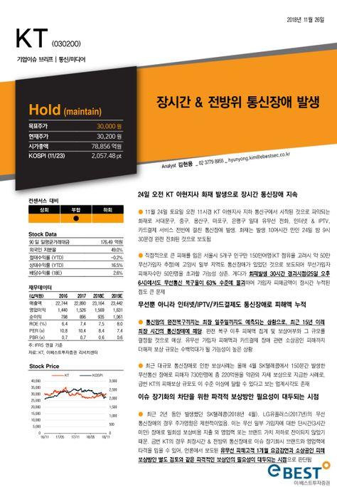 투자리포트 모아보기 ~ PDF 원문링크 개시!!!: [이베스트투자증권/김현용 통신/미디어/엔터]KT (030200):장시간 & 전방위 통신장애...