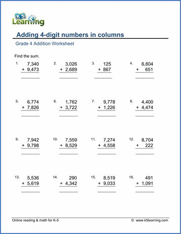 Adding 4 Digit Numbers Addition Worksheets Column Addition Math Worksheet Free math worksheets column addition