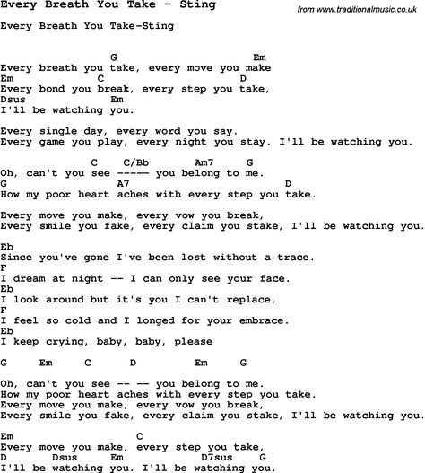 Song Every Breath You Take By Sting With Lyrics For Vocal