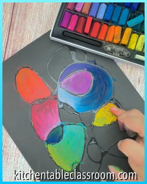 Use drizzled glue to provide structure for this fun chalk blending process.  #processart #chalkart #pastelart #artforkids