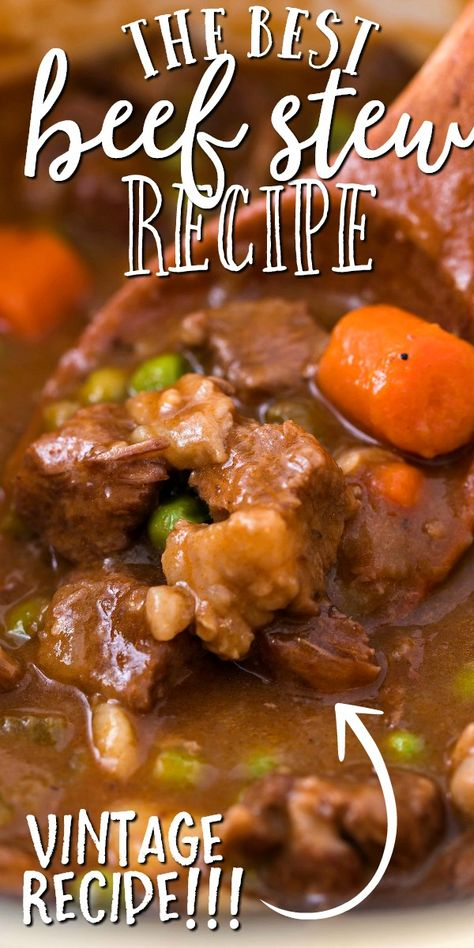 This old-fashioned beef stew is a hearty, homemade favorite straight from grandma's recipe box. Filled with tender piece Best Beef Recipes, Beef Soup Recipes, Hamburger Meat Recipes, Crockpot Recipes, Cooking Recipes, Best Beef Stew Recipe, Stovetop Beef Stew Recipe, Hawaiian Beef Stew Recipe, Recipe For Beef Stew