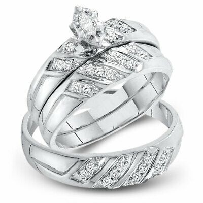 10kt White Gold His Her Marquise Diamond Matching Bridal Wedding Ring Set Ebay In 2020 Wedding Ring Bands Set Wedding Ring Bands Wedding Rings