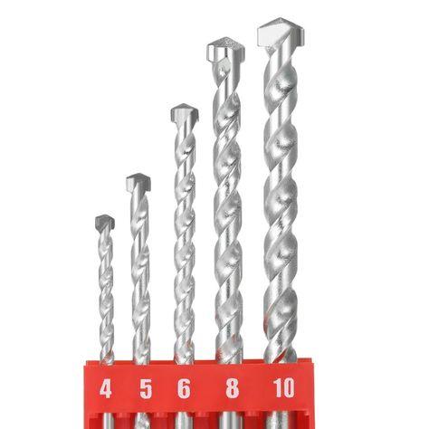 5pcs 4 10mm Rotary Masonry Drill Bits Set Galvanized Drills Round Shank Spiral With Premium Quality For Drilling Ceramic Tile Masonry Drill Bits Drill Bits Concrete Bricks