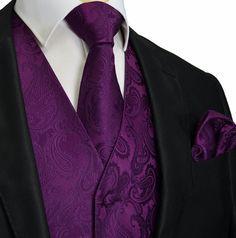 Dark Purple XS To 6XL Paisley Tuxedo Suit Dress Vest By Q2ties Groom Or Groomsmen