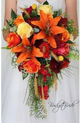 Tiger Lily Orange Fall Cascading Bouquet With Wine Orange