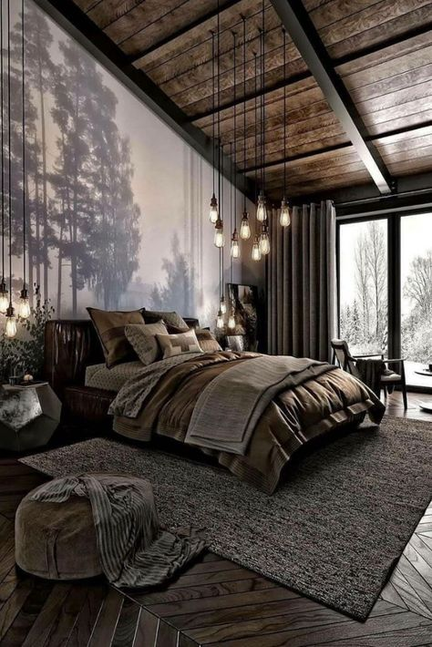 How do you like this bedroom design? A room should never allow the eye to settle in one place. It should smile at you and create fantasy home decor decoration salon decoration interieur maison Industrial Bedroom Design, Rustic Bedroom Design, Bedroom Designs, Modern Industrial, Rustic Modern, Modern Luxury, Luxury Bedroom Design, Rustic Bedrooms, Bed Designs