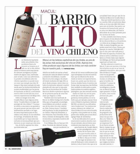 Macul: El Barrio Alto del Vino Chileno | Wikén, El Mercurio - Abril 19, 2013
