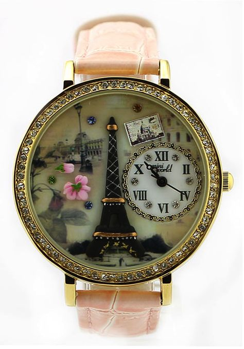 Paris Eiffel Tower watch #pink eiffel tower watch Paris. this watch is really cute i want it a lot. Where can I get this?