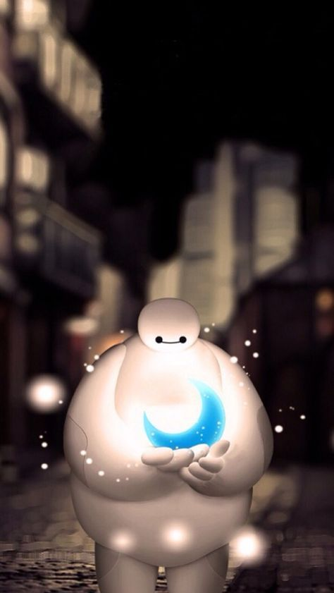 Baymax Holding Moon Dreamy Bokeh iPhone Wallpapers