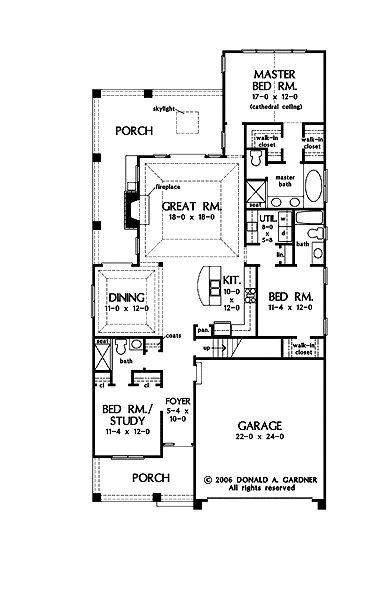 Stylish Plan for a Narrow Lot (HWBDO69203)   Bungalow House Plan from BuilderHousePlans.com